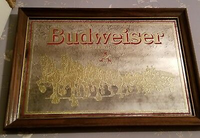 Vintage 80's Budweiser King Of Beers Clydesdale Horses Bar mirror/sign
