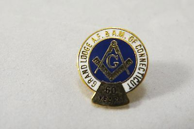 Vintage Masonic Connecticut Grand Lodge AF & AM 60 Years Member Lapel Pin