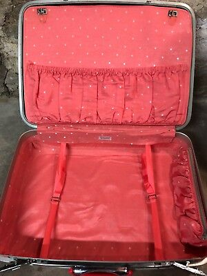 Vtg SAMSONITE Pink Orchid Luggage Silhouette Suit Case Polka Dot Inside 2 KEYS