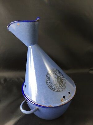 Large Vintage french blue enamel Nicolay inhaler tole modele depose supplie