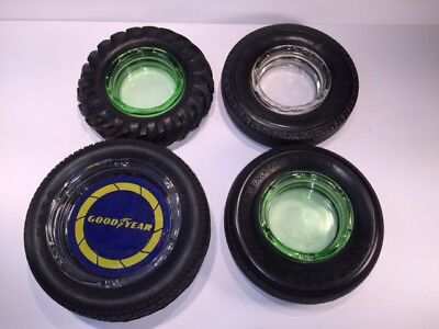 Lot of 4 Goodyear assortment of tire/glass ashtrays