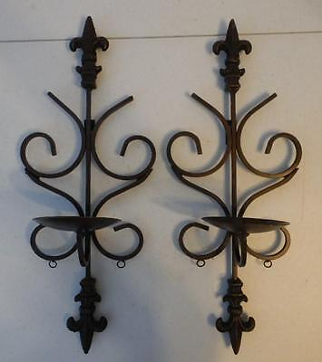Pair Brown Wrought Iron Metal Wall Sconces Candle Holders Gothic Fleur De Lis