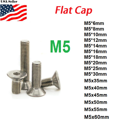 M5 metric 5mm to 50mm Hex bolt Flat head Stainless Steel Allen Screw Countersunk
