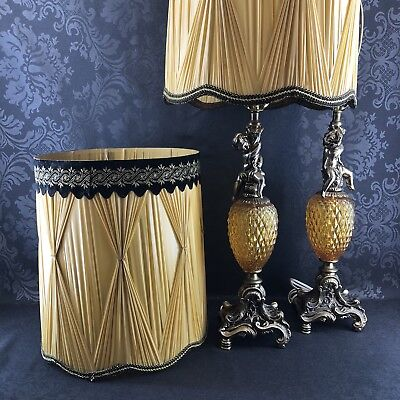 """1 of 2 Vintage 35"""" Hollywood Regency Brass Cherub Amber Glass Table Lamps Shades"""