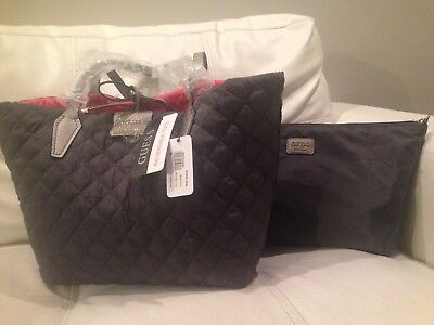 59f4918c24 GUESS Bobbi Inside-Out Reversible Quilted Nylon Extra-Large Tote Grey and  Pink