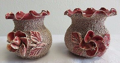Antique Sand Majolica Speckled Deep Rose w/ Applied Flowers - 2 Small Vases