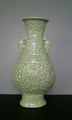 Antique Chinese Celadon Vase Early 20th Century Finely Carved