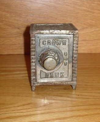 """EARLY 1900's CAST IRON """"CROWN BANK"""" IN VERY NICE CONDITION"""