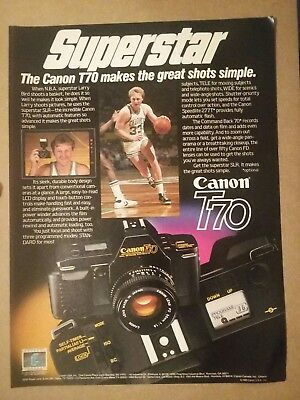 1985 Canon T70 Camera Larry Bird Ad