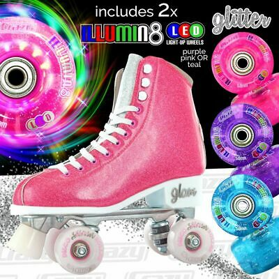 Girls Ladies Roller Skate PINK Glitter Kids Boot Quad - Crazy Skates™ Size