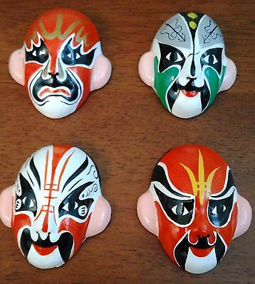 Four Chinese Hand Painted Opera Mask Miniatures