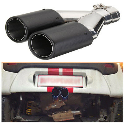 Stylish Stainless Steel Car Exhaust Dual Tail Pipe Tip Carbon Fiber+Chrome Color