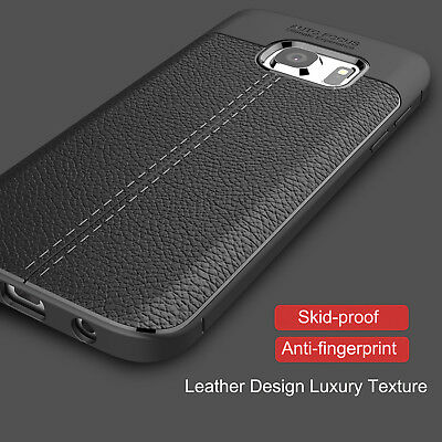 For Samsung Galaxy S7 Edge Case Luxury Leather Rubber Ultra 360 Shockproof Cover