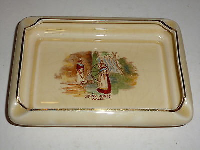 "Vintage Crown Devon England Rectangular China Ashtray, ""Jenny Jones Wales"""