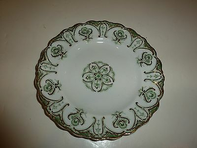 Vintage J&G Meaking Chatham Bread Plate, Green/Gold Tone Floral/Scroll
