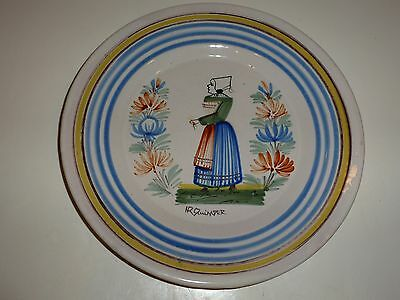 Vintage HR Quimper Faience Plate, Woman and Flowers