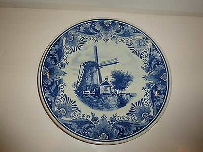 Vintage Delfts Blauw Holland Large Plate, Blue Windmill/Flowers/Scrolls Scene