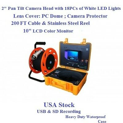 """Chimney Camera With 2"""" Pan Tilt Camera 10"""" LCD Control Station Cable 200FT +Reel"""