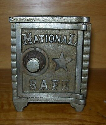 """Antique Cast Iron  """"national Safe"""" Coin Bank - Very Nice Condition"""