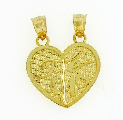 14k Solid Yellow Gold TE AMO Split Break Couple Heart Pendant Charm 26x.20 mm