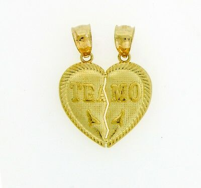 14k Solid Yellow Gold TE AMO Split Break He She Heart Pendant Charm 23 x 18 mm