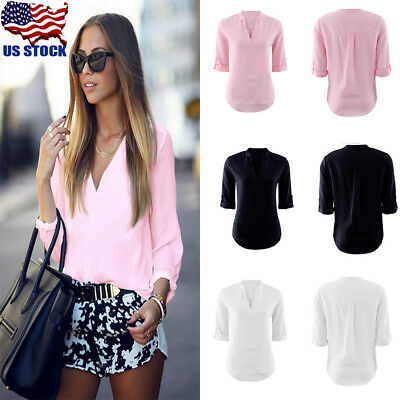 US Women Summer V-neck Short Sleeve Blouse Ladies T Shirt Loose Casual Tops S-XL