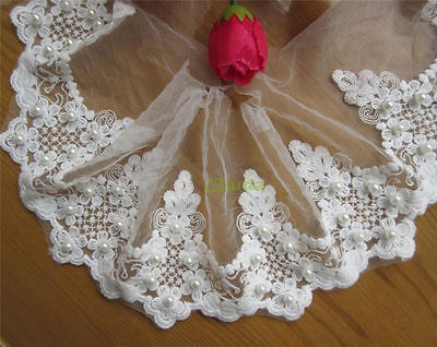 5 yd Embroidered Cotton Pearl Net Floral Lace Edge Trim Wedding Ribbon Applique