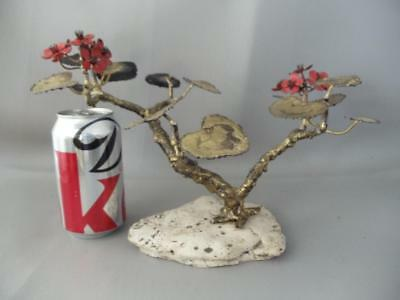 Vintage Mid Century Enameled Brass Red Flowers Bonsai Tree Signed Sculpture