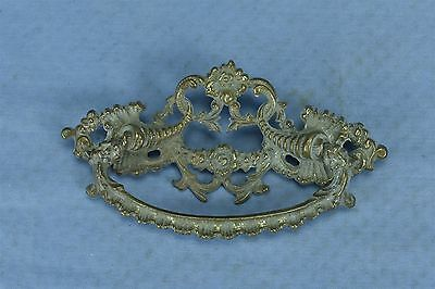 Antique VICTORIAN FANCY CAST BRASS DRAWER PULL HARDWARE CORNUCOPIA FLOWER #03490