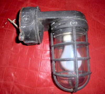 Vintage V131 STONCO Industrial NAUTICAL Cage WALL cast LIGHT aluminum FIXTURE