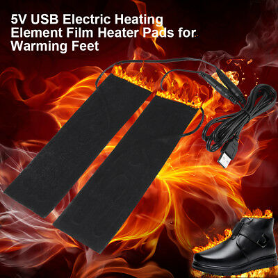 One Pair 5V USB Heater Heating Element Film Pad Warmer for Warm Knee Shoes New
