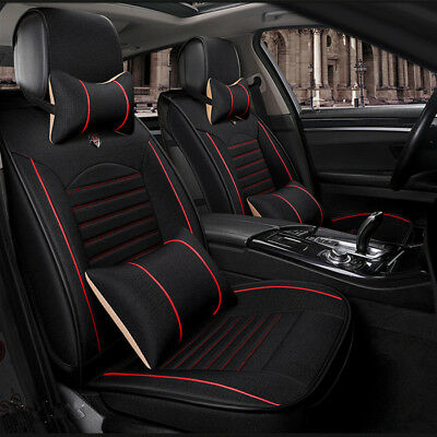 Deluxe Linen Auto Car Seat Cover Cushions 10mm Layer Black for 5 seat Sedan Limo