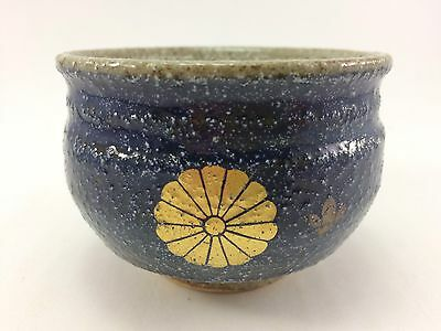 J-042 Japanese Pottery Blue with Gold Gilt Tea Bowl cup Signed 2 1/4""