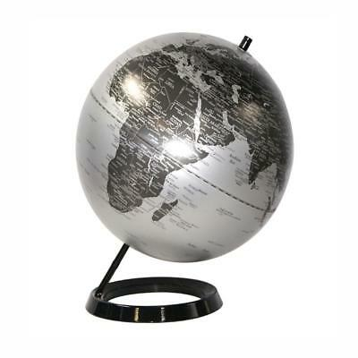 ATTRACTIVE HIGH QUALITY Silver & Black Educational World Globe 30cm