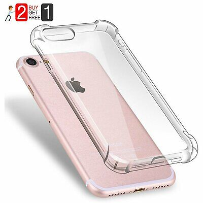 For iPhone 7 8 Plus XR XS Max Clear Crystal Slim Shockproof Hybrid Hard PC Case