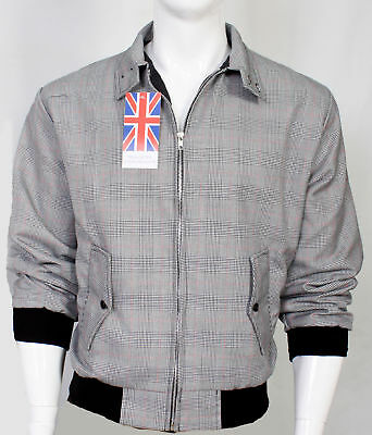 Mens Prince Of Wales Jacket 1970s Bomber Harrington Scooter Vintage Coat Top