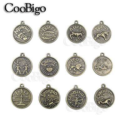 Assorted 12 Constellations Zodiac Horoscope Sign Charm Pendant Bracelet Necklace