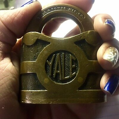 "Antique Brass Padlock Yale Towne 2"" Antique Patina Vintage Lock Old Lock"