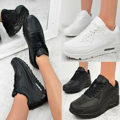 Womens Mens Black White Work Walking Shoes Trainers Running Gym Sneakers Size