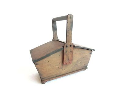 Antique PRIMITIVE Wooden Wood CANDLE BOX w/ Handle ~ Two Lid Opening