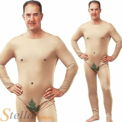 Adult Mens Naked Man Adam Eve Stag Do Fig Leaf Jumpsuit Fancy Dress Costume