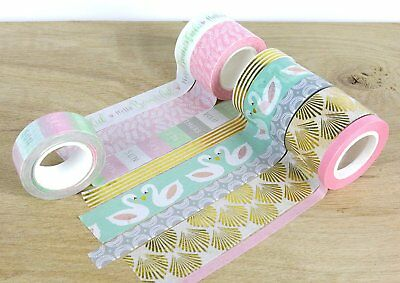 Dovecraft First Edition - Swans - Washi Tape 8 Pack x5m Roll