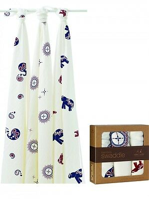 New Aden + Anais Bamboo Muslin Collection Swaddle Blanket  3-pack 47x47 Baby