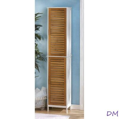 Kyoto Contemporary Tall Double Linen Cabinet White with Bamboo Louver Doors