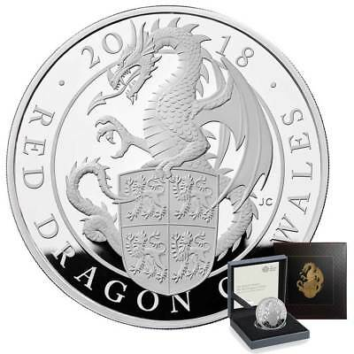 The Queen's Beasts - The Red Dragon of Wales 2018 UK £2 1oz Silver Proof Coin