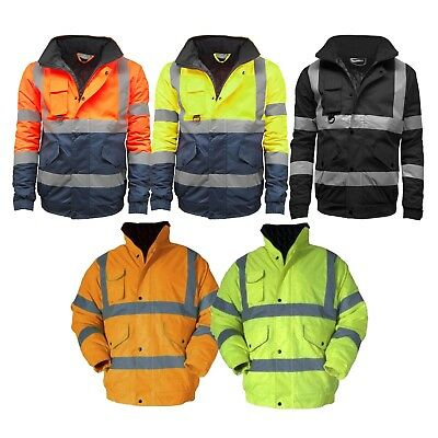 Mens New Hi Viz High Visibility Bomber Safety Work Black Hooded Jacket Coat SIA