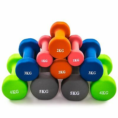 Neoprene Dumbbell Weights. Hand Held Pair. For Exercise & Home Gym 1kg-10kg