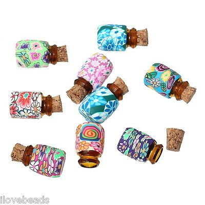 LOVE Mini Round Glass Bottles Containers Vials With Corks 50x