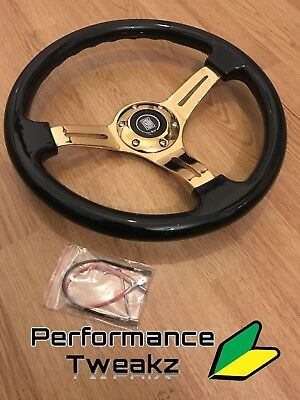 New Universal Jdm Gold Chrome 350Mm Dish Steering Wheel Nardi Omp Sparco Momo Uk
