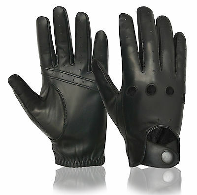 Classic Luxury Mens Real Leather Professional Driving Gloves Slim Fit Chauffeur